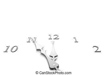 Clock closeup - Clock showing almost noon or midnight - 3d ...