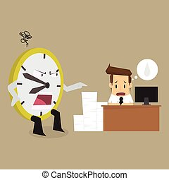 clock complain businessman working time is limited. vector