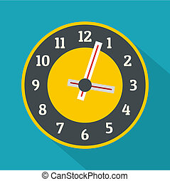 Clock concept icon, flat style