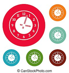 Clock concept icons circle set
