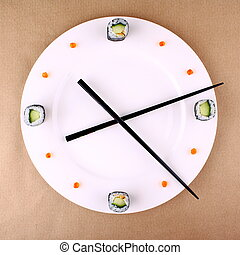 Clock Concept with sushi on white plate, top view