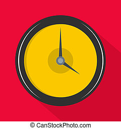 Clock deadline icon, flat style