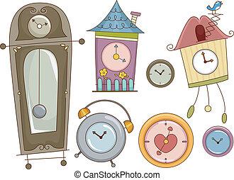 Clock Design Elements - Illustration Featuring Colorful...