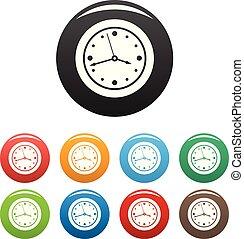Clock design icons set color vector