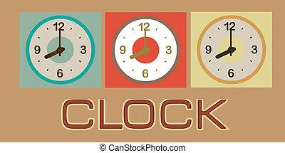 clock design over brown background vector illustration