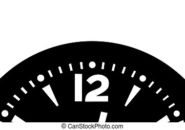 Clock detail - A bit after 12 o\' clock, black and white ...