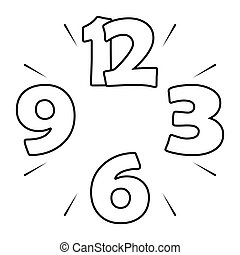 Clock dial 15 - numbers and dashes
