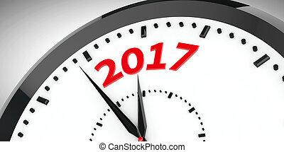 Clock dial 2017 #2 - Black clock with 2017 represents coming...
