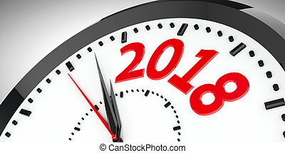 Clock dial 2018 #2 - Black clock with 2018 represents coming...