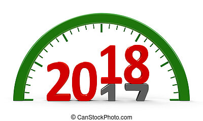 Clock dial 2018, half - Clock dial with 2017-2018 change...
