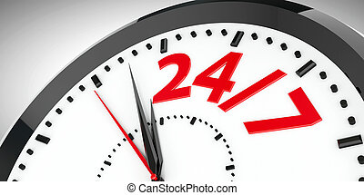 Clock dial 24/7 - Black clock with 24/7 represents 24 hours...