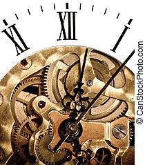 Clock dial, and clockwork. Gears and screws. Mechanical...