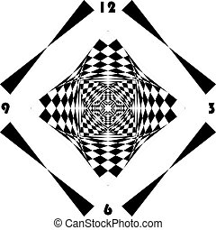 clock dial black diamond signs muptiple perspective