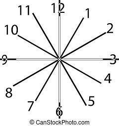 clock dial black rectangle signs with intersected vertical numbers