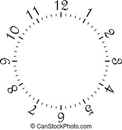 clock dial black rectangle signs with rounded corners big numbers