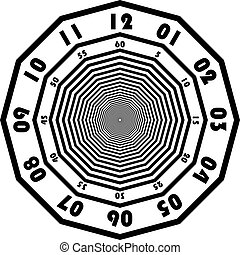 clock dial black signs minutes and seconds