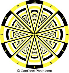 clock dial black yellow signs muptiple perspective