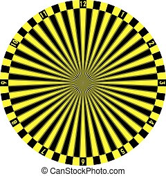 clock dial black yellow signs target perspective yellow numbers