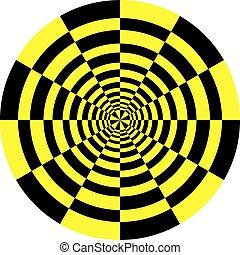 clock dial black yellow signs target umbrella perspective