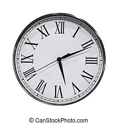 Clock dial - Close up shot of analog round clock isolated