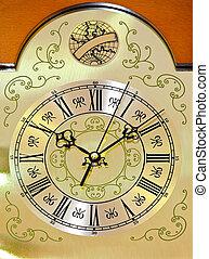 Clock dial - Close up shot of metallic clock dial