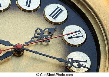 Clock Dial - Extreme closeup of nice golden vintage clock...