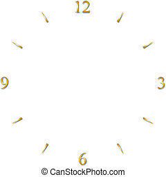 clock dial gold 12 3 6 and 9 signs