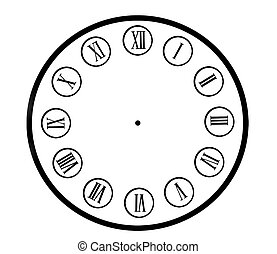 Clock dial. - Isolated retro clock dial on a white...