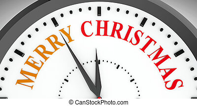 Clock dial Merry Christmas - Black clock with Merry...