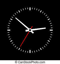Clock dial on a black background. Vector