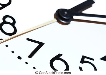 Clock Dial - Extreme closeup of clock dial on white...