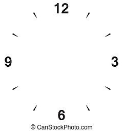 Clock dial with three six nine and twelve