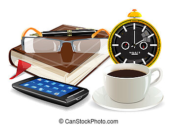 clock, diary, cup and spectacles