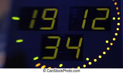 Clock display with electronic scoreboard. Close-up. Stock ...