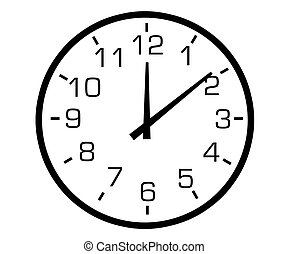 clock - Black and white illustration of an analogue clock.