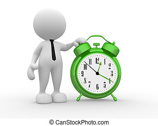 Clock - 3d people - man, person with a alarm clock.