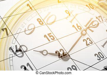 Clock face and calendar.