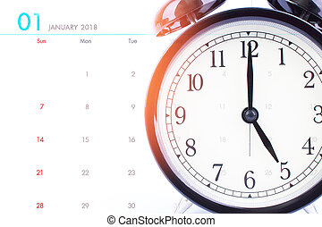 Clock face and calendar composite, Time and planning concept