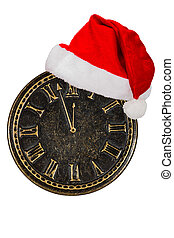 Clock face and cap of Santa Claus, isolated on white background