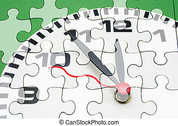 Clock Face and Jigsaw Puzzles - Composite of Clock Face and...