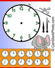 clock face cartoon educational worksheet