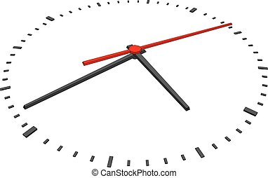 Clock face with red second hand and without numbers on...
