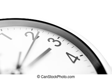 Clock face closeup over white background.