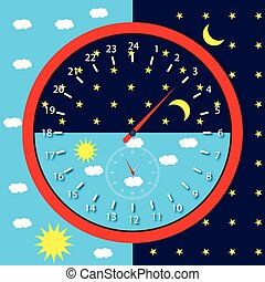 Clock face day and night. Sun and moon, 24 hours, vector...