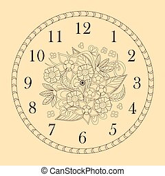 clock face decorated with doodle flowers