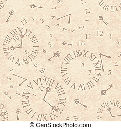 clock face - Seamless grunge background with vintage clock...