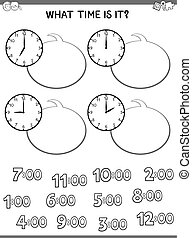 Black and White Cartoon Illustrations of Telling Time Educational Worksheet for Children