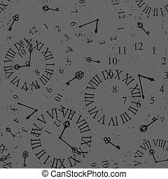 clock face - Seamless grunge gray background with vintage...