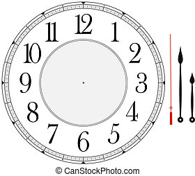 clock face template with hour, minute and second hands to...