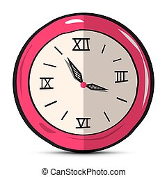 Clock Face Hand Drawn Illustration Isolated on White Background